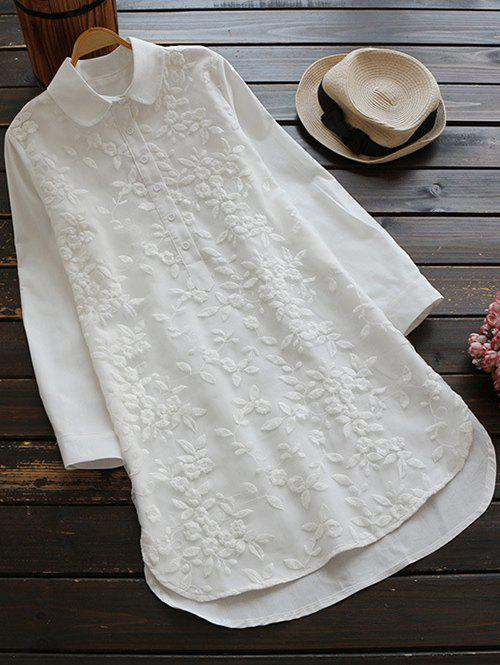 Long Buttoned Floral Embroidered Linen Shirt - WHITE S