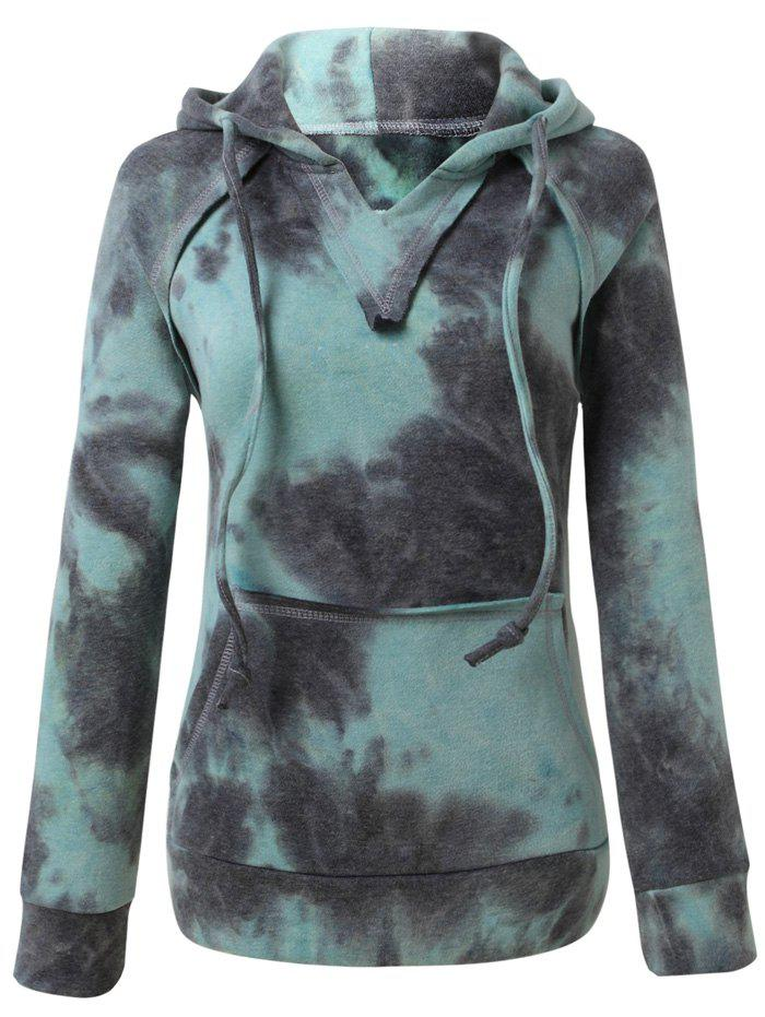 Ombre Topstitched Pocket Design Hoodie, Ice blue