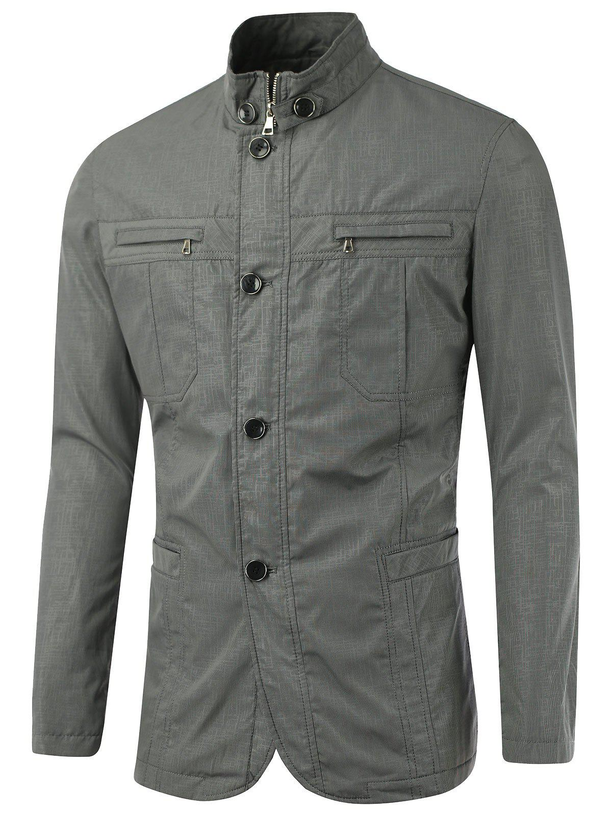 Slim-Fit Stand Collar Zipper Button Design Jacket - GRAY M