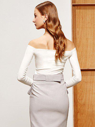 Off-The-Shoulder Slimming T-Shirt - WHITE M