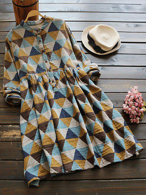 Buttoned Long Sleeve Geometric Smock Checked Shirt Dress exaggerate bell sleeve buttoned keyhole dress