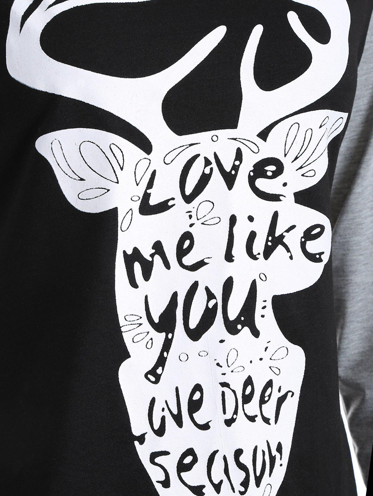 Christmas Deer Print Raglan Sleeve T-Shirt - BLACK/GREY S