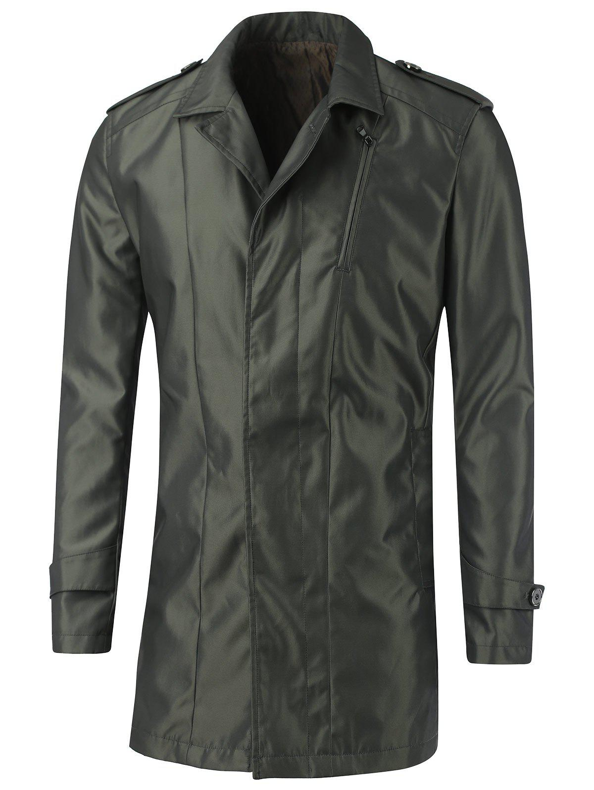 Turn-Down Collar Epaulet Design Single Button CoatMen<br><br><br>Size: L<br>Color: ARMY GREEN