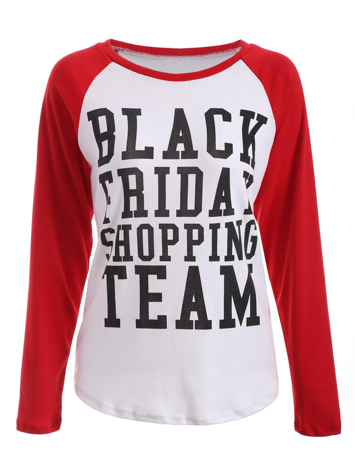 Tee-shirt à manches raglan imprimé Black Friday - Rouge et Blanc M