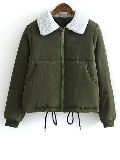 Buy Lamb Wool Collar Drawstring Padded Coat ARMY GREEN