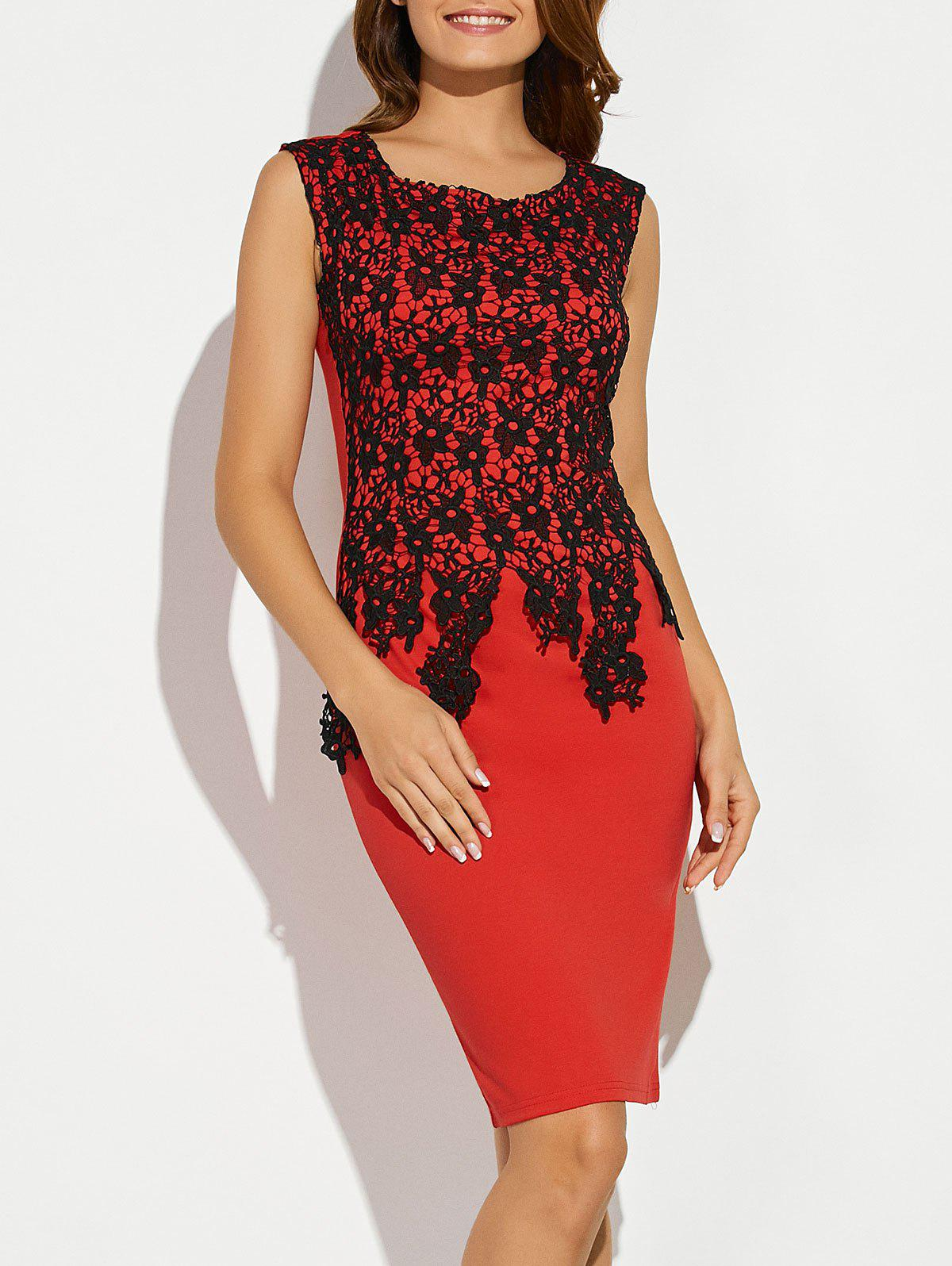 Sleeveless Lace Applique Fitted Dress - RED M
