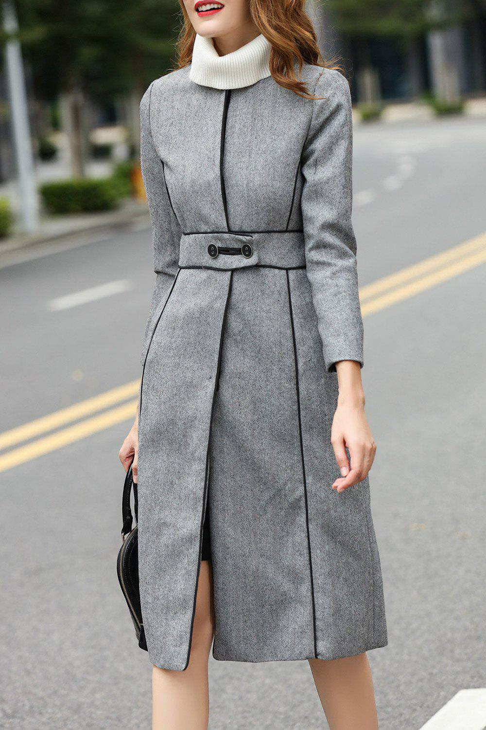 Wool Blend A Line Walker Coat, Gray