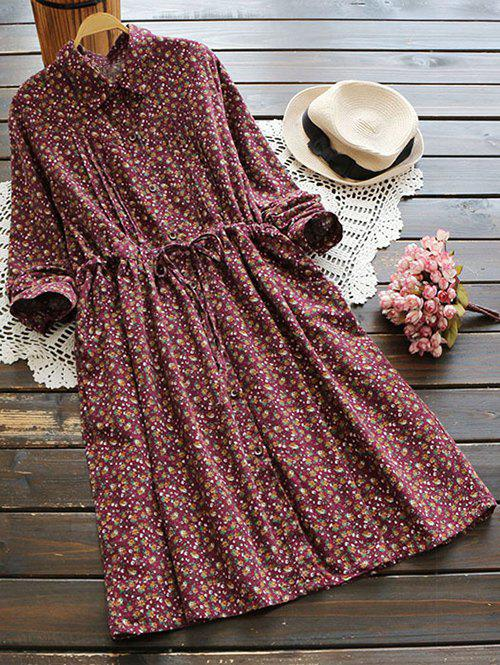 Tiny Floral Brushed Shirt Dress - WINE RED ONE SIZE