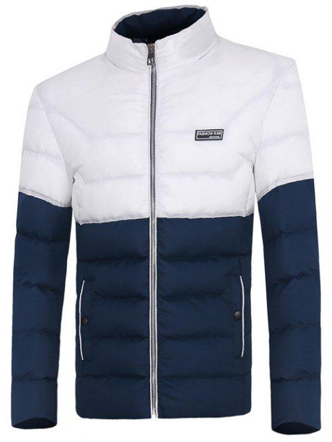 Two Tone Zip Up Padded Jacket - BLUE 3XL