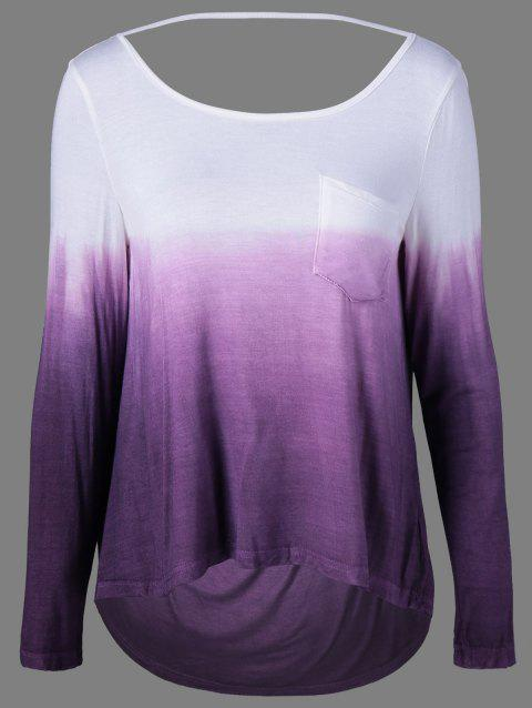 Ombre Color Pocket Tee - WHITE/PURPLE S