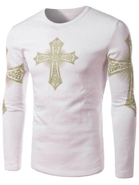 Modern Style Round Neck Color Block Special Cross Print Slimming Long Sleeves Men's Flocky T-Shirt - WHITE M