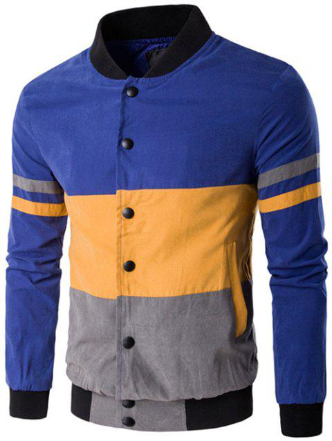 Snap Button Up Color Matching Striped Jacket - BLUE 3XL