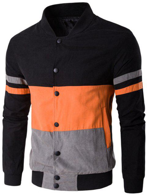 Snap Button Up Color Matching Striped Jacket - ORANGE 2XL