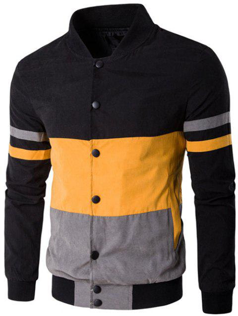Snap Button Up Color Matching Striped Jacket - YELLOW XL