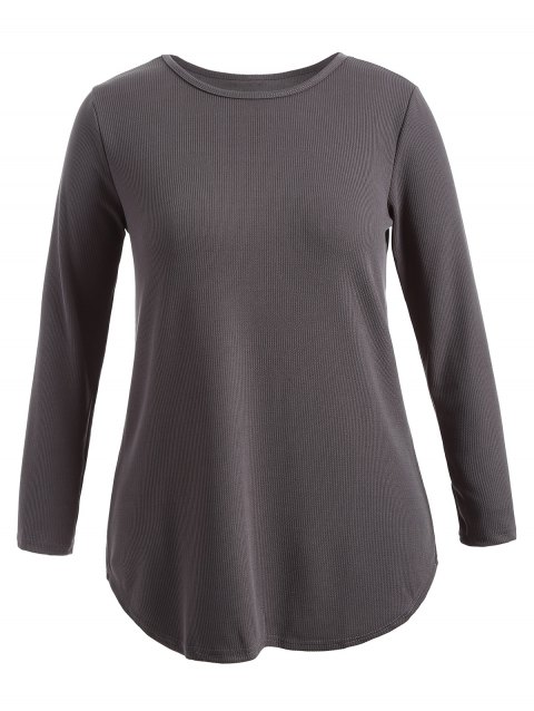 Plus Size Knitwear with Arc Hem - DEEP GRAY 2XL
