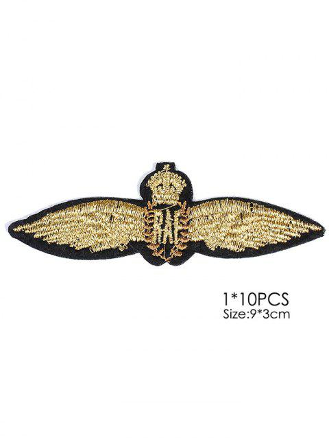 10 PCS Wings Embroidered Patches - GOLDEN