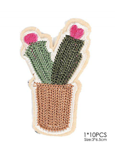 10 PCS Cactus Embroidered Patches - GREEN