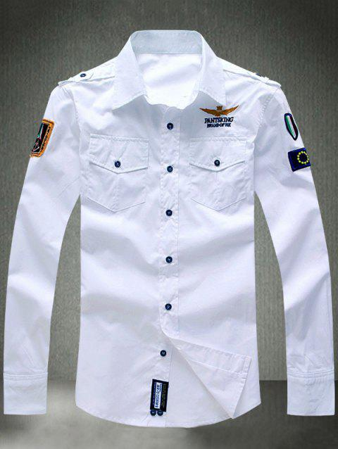 Embroidered Appliques Turn-Down Collar Long Sleeve Shirt - WHITE M
