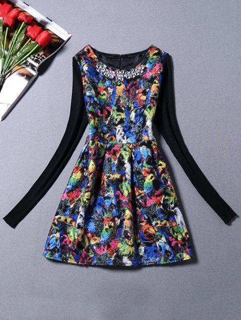 Sweater Sleeve Parrot Print Dress With Necklace - BLACK S