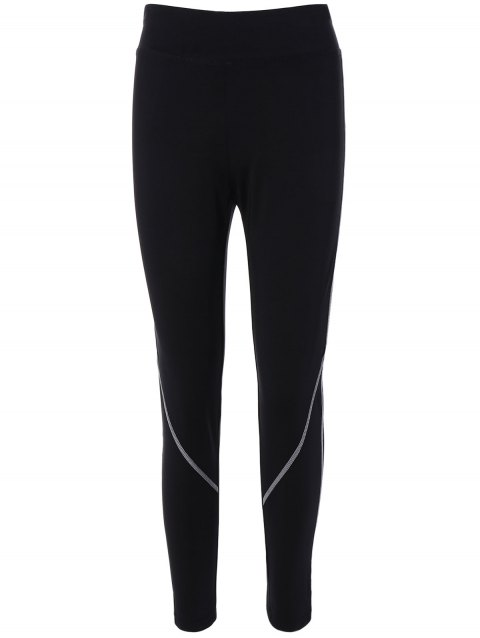 High Waist Contrast-Trim Running Leggings - BLACK L