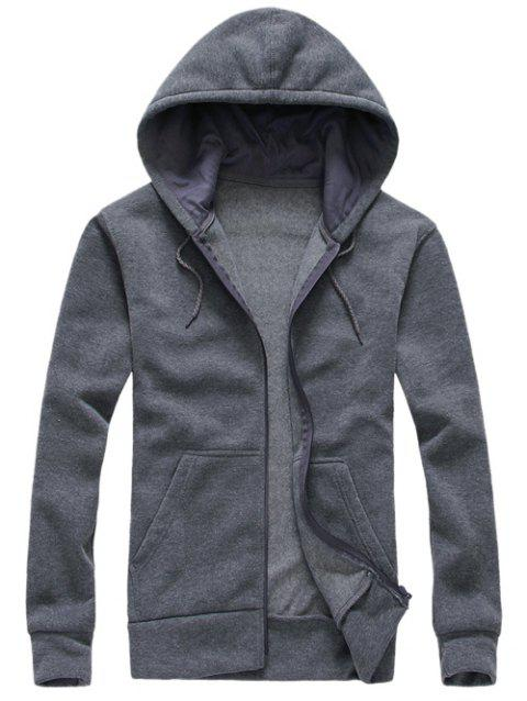 Sweat à Capuche Zippé Simple - Gris L