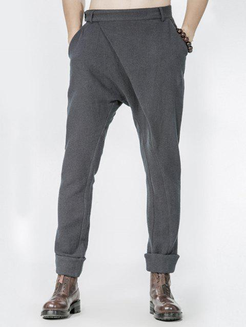 Drop Crotch Single Pocket Back Wrap Pants - GRAY 31