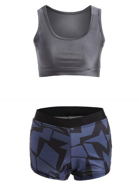 Stretchy Geometric Print Sporty Outfits - DEEP BLUE M