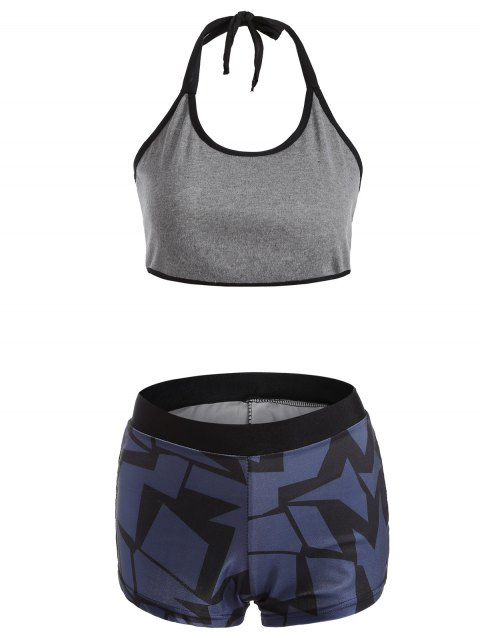 Halter Geometric Print Gym Outfits - DEEP BLUE M
