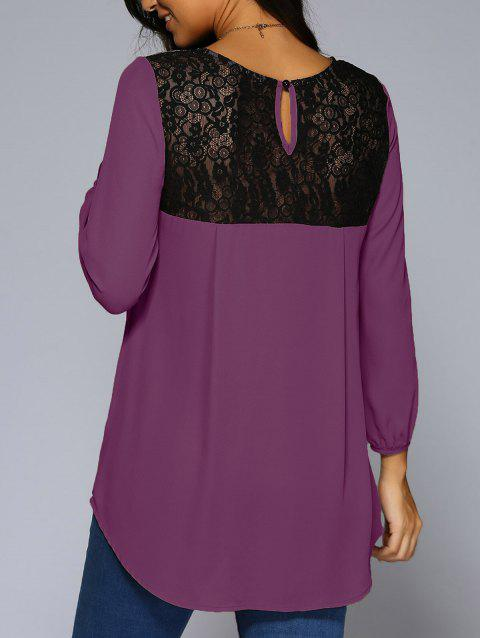 Lace Patchwork High Low Hem Chiffon Blouse - PURPLE M