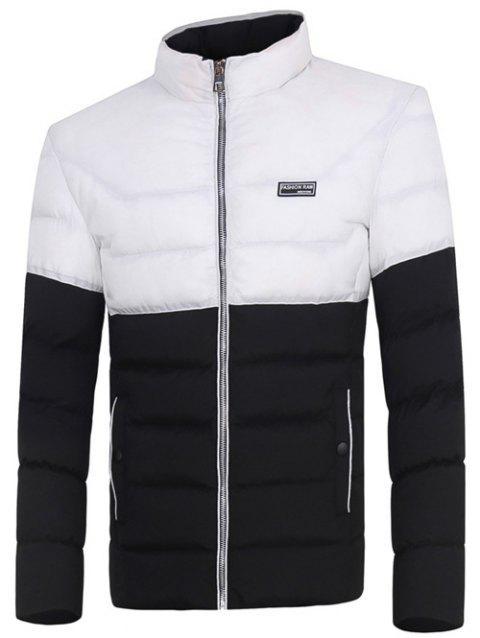 Two Tone Zip Up Padded Jacket - BLACK 3XL