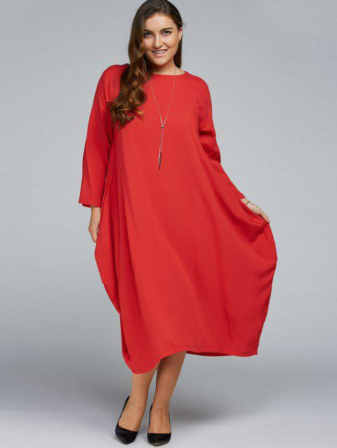 Plus Size Long Sleeve Midi Dress - RED ONE SIZE