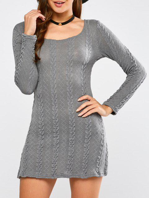 2018 Tunic Cable Knit Mini Jumper Dress Gray Xl In Sweater Dresses
