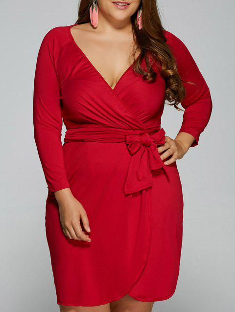41 Off 2018 Plunging Long Sleeve Plus Size Knot Wrap Dress In Red