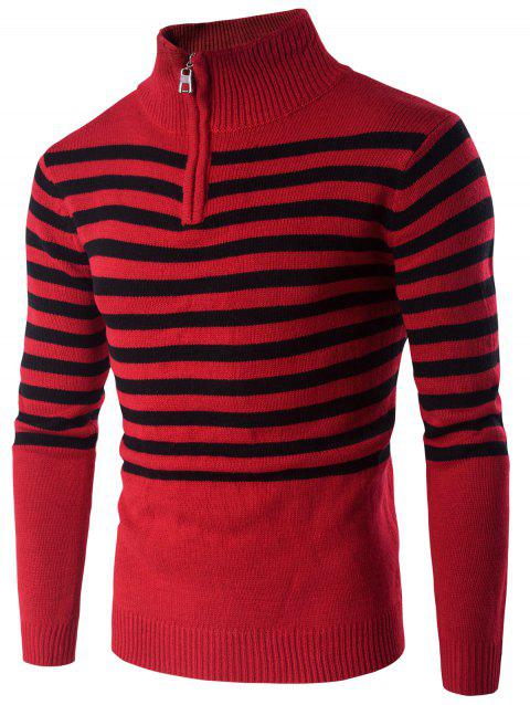 Stand Collar Half Zip Up Striped Sweater - RED XL