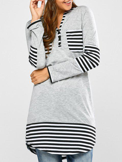 Striped Hem Pocket Tunic T-Shirt - LIGHT GRAY S