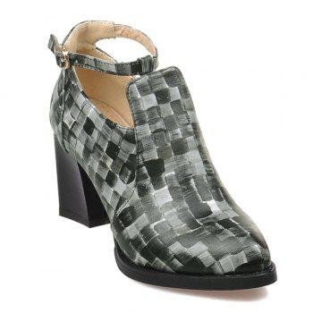 PU Leather Colour Block Plaid Pattern Pumps