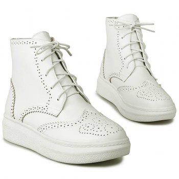 PU Leather Tie Up Engraving Ankle Boots - WHITE WHITE