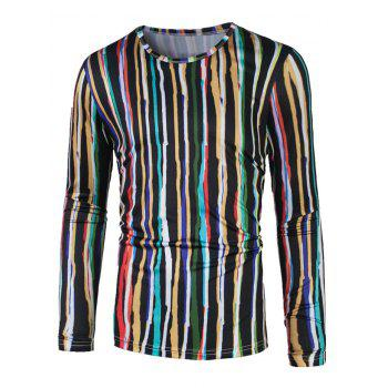 Colorful Vertical Striped Long Sleeve T-Shirt