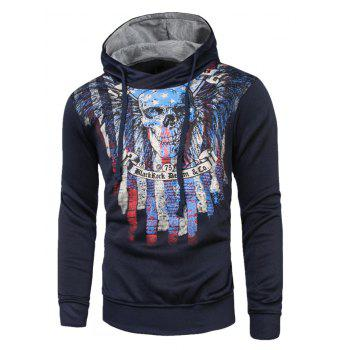 Long Sleeves Skull Printed Drawstring Hoodie