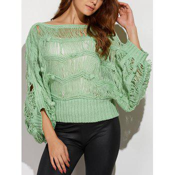 Knotted Hollow Out Ripped Sweater