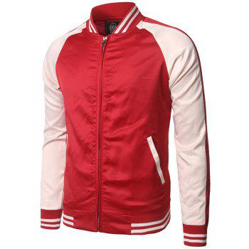 Pocket Design Color Block Striped Zippered Jacket - RED XL