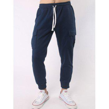 Drawstring Elastic Waist Multi Pocket Beam Feet Jogger Pants