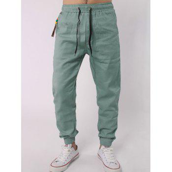 Beads Embellished Drawstring Elastic Waist Beam Feet Jogger Pants