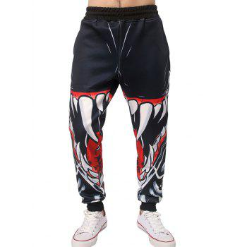Buy Elastic Waist 3D Mouth Teeth Print Jogger Pants BLACK