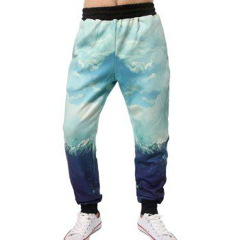 3D Graphic Sky Print Beem Feet Jogger Pants