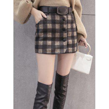 Woolen Plaid Skirt With Belt