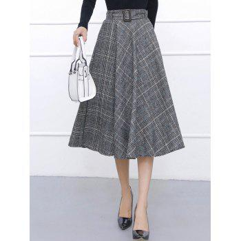 Checked High Waisted Midi Flare Skirt
