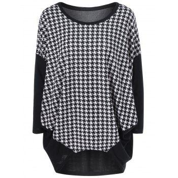Bat Sleeve Houndstooth Tee