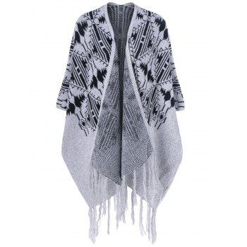 Fringed Bat Sleeve Asymmetrical Cardigan