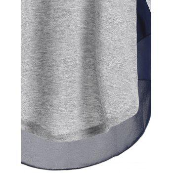Round Neck Chiffon Spliced T-Shirt - LIGHT GRAY L